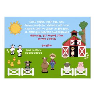 Inbjudan för barns födelsedag för Barnyardlantgård