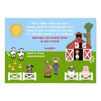 Inbjudan för barns födelsedag för Barnyardlantgård 12,7 X 17,8 Cm Inbjudningskort