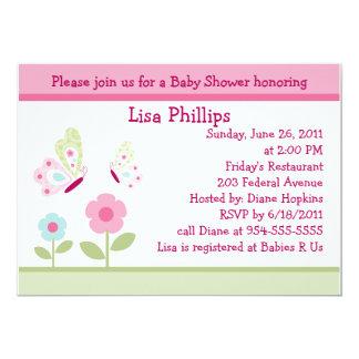 Inbjudan för Bella fjärils- och blommababy shower