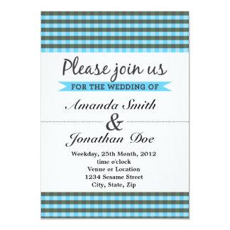 Inbjudan för blåttplädbröllop