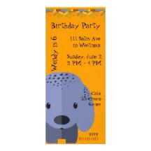 Inbjudan för blåttvalpfödelsedag