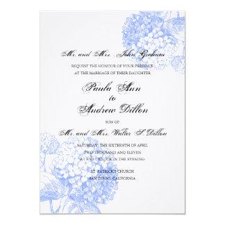 Inbjudan för blåttvanlig hortensiabröllop