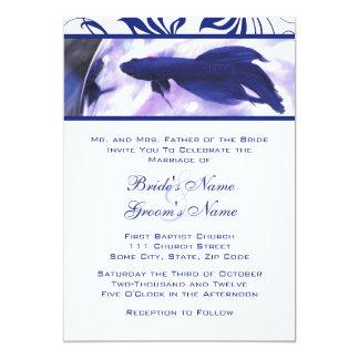 Inbjudan för bröllop för blåttBetta fisk