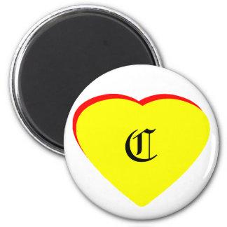 """Inbjudan för bröllop """"för c-"""" hjärta gul röd MUSEE Magneter"""