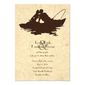 Inbjudan för bröllop för fartyg för fiskeälskare
