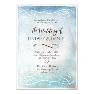 Inbjudan för bröllop för för vattenfärgblåtthav