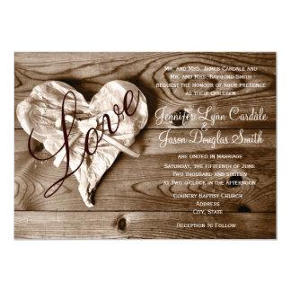 Inbjudan för bröllop för hjärta för kärlek för