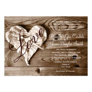 Inbjudan för bröllop för hjärta för kärlek för lan