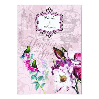 Inbjudan för bröllop för HummingbirdsMagnolias 5x7 12,7 X 17,8 Cm Inbjudningskort