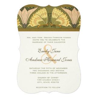Inbjudan för bröllop för lilja för art décofjärils