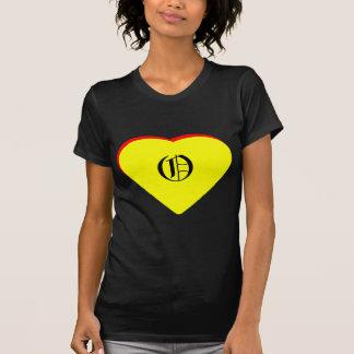 """Inbjudan för bröllop """"för nolla-"""" hjärta gul röd tee shirts"""