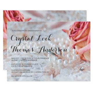 Inbjudan för bröllop för rosa vigselringar för