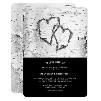 Inbjudan för bröllop för skäll för hjärtabjörkträd