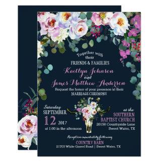 Inbjudan för bröllop för skalle för Boho