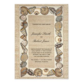 Inbjudan för bröllop för snäckskalgränsväv