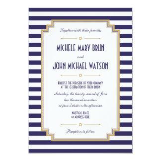 Inbjudan för bröllop för stilfull blåttvit nautisk