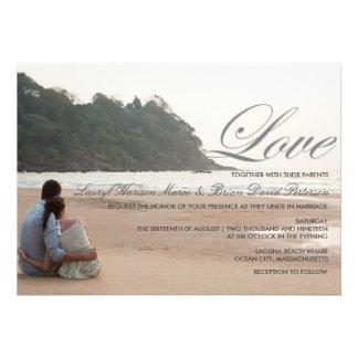 Inbjudan för bröllop för strandkärlekdestination