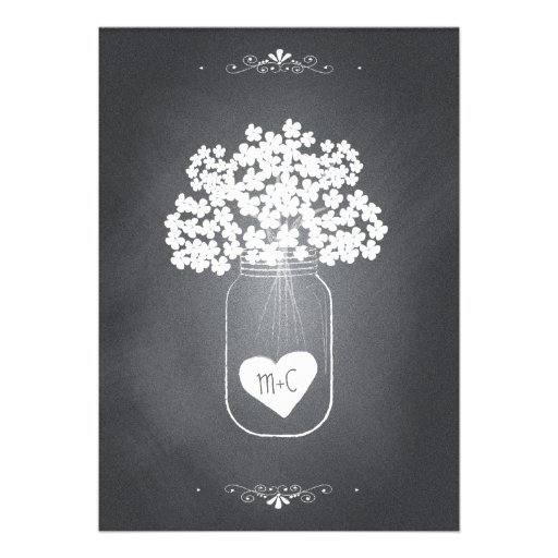 Inbjudan för bröllop för svart tavlaMasonburk med