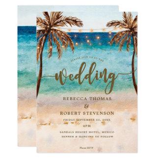 inbjudan för bröllop för tropisk strandplats