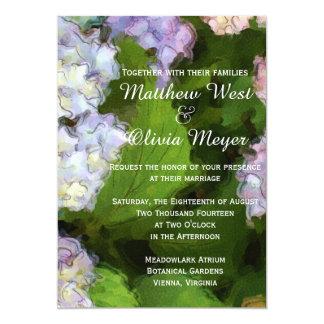 Inbjudan för bröllop för vanlig hortensiablommor