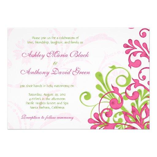 Inbjudan för bröllop för vibrerande rosagröntvit b