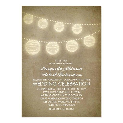 inbjudan för bröllop för vintagelyktor lantlig