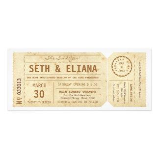 Inbjudan för bröllop för vintagePlaybill biljett