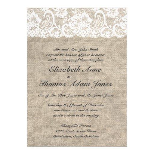 Inbjudan för bröllop för vintagesnöreLook & Burlap
