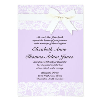 Inbjudan för bröllop för vitsnöre lila