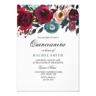 Inbjudan för Burgundy röd blommaQuinceanera party