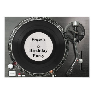 Inbjudan för DJ-turntablefödelsedag