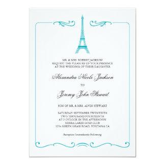 Inbjudan för Eiffel tornelegant bröllop