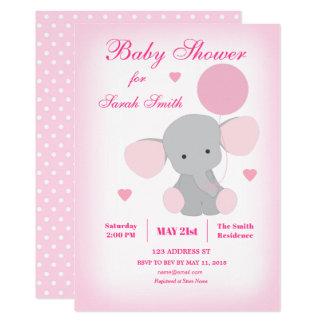 Inbjudan för elefant för flickababy shower rosa