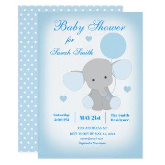 Inbjudan för elefant för pojkebaby showerblått