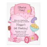 Inbjudan för flickasovsäckfödelsedag