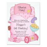 Inbjudan för flickasovsäckfödelsedag 10,8 x 14 cm inbjudningskort