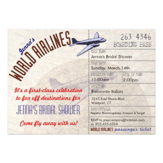 Inbjudan för flygbolagbiljettDestinationBridal dus