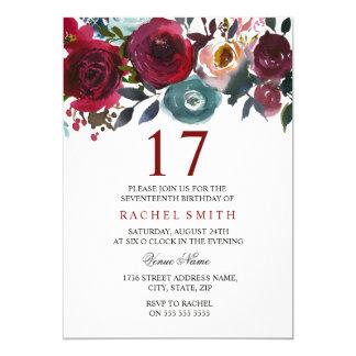 Inbjudan för födelsedag Burgundy för röd blom-