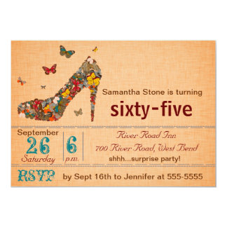 Inbjudan för födelsedag för 65e för fjärilskickhäl 12,7 x 17,8 cm inbjudningskort