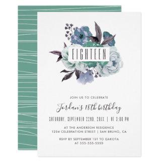 Inbjudan för födelsedag för blom- vattenfärgbukett