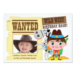 Inbjudan för födelsedag för Cowboy för pojkevilda