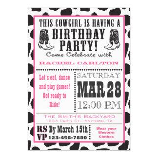 Inbjudan för födelsedag för Cowgirl för