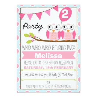 Inbjudan för födelsedag för flickauggla 2nd