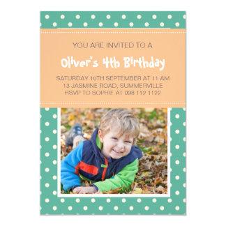 Inbjudan för födelsedag för foto för krickapolka