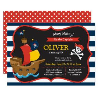Inbjudan för födelsedag för frakt för pirat för