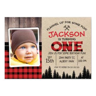Inbjudan för födelsedag för Lumberjackfoto 1st
