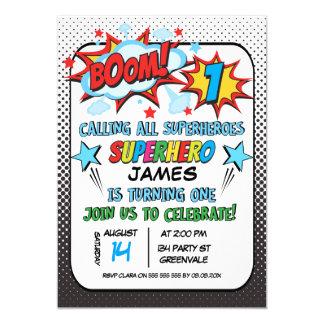 Inbjudan för födelsedag för pojkeSuperhero 1st