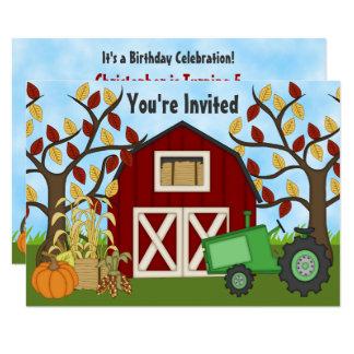 Inbjudan för födelsedag för traktor- och