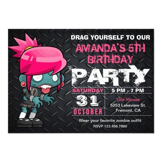 Inbjudan för födelsedag för ZombieflickaHalloween