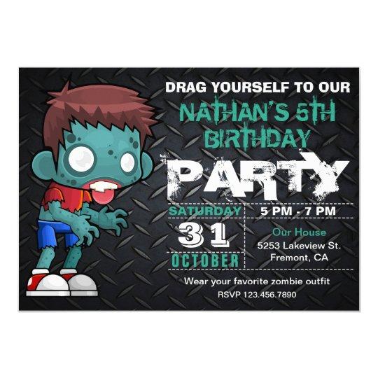Inbjudan för födelsedag för ZombiepojkeHalloween